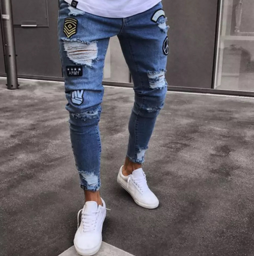 6Elastic Multi-hole Slim Fit Denim Jeans