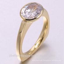 2018 nueva moda 14k oro amarillo 925 joyas de plata del anillo
