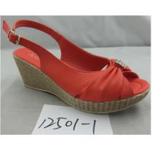 Red Wedge Heel Open Toe Slingback Dress Sandals