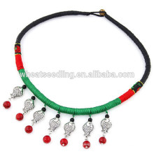 Fish pendant braided black rope chunky abtique choker necklace