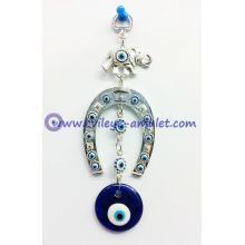 Turkish Horseshoe & Elephant Wall Hanging Amulet With Evil Eye Bead