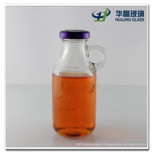 High Flint 250ml Glass Beverage Bottle Glass Juice Bottle with Handle and Screw Lid