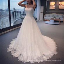 Guangzhou elegante Kleid Design Sweetheart Brautkleider 2015 Reich Tüll A-Linie Appliqued bodenlangen Spitze Brautkleider A011