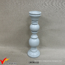 Wood Antique Light Blue Pillar Candle Holder Candle Stand