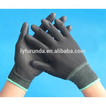 Guantes de nylon recubiertos de poliuretano negro antiestático fabricados en china