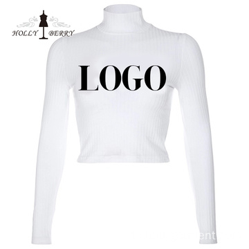 Lässige Customized Logo Sexy Mode Slim Tops Blusen