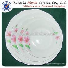 Factory Cheap Porcelain Cut Edge Soup/ Trim Silver Rim Dessert Plates & Dishes