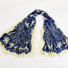 Travel Companions Blue Voile Elephant Printed Scarf