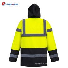 Sécurité haute sécurité à capuchon trafic étanche imperméable coupe-vent imperméable coupe-vent jaune chemise de réflexion