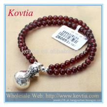 Melhor venda de moda dupla cadeia pulseira grânulo de granada com 925 prata esterlina homens pulseira beads
