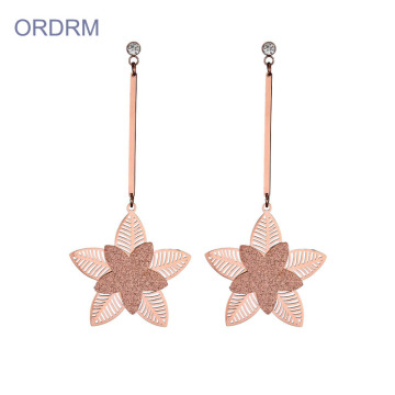 Womens bông hồng lớn hoa hồng Dangle Earrings