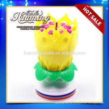 Vela de aniversário de flor com música / vela de aniversário com flores