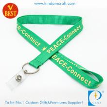 Kundenspezifisches grünes Nylon gedruckte Abzugsleine mit PVC-Bügel für Förderung