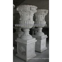 Jardinera de mármol de la flor para la piedra del jardín (QFP195)