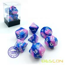 Bescon Gemini Polyhedral Dice Set Myosotis, Two-tone RPG Dice Set of 7 d4 d6 d8 d10 d12 d20 d% Brick Box Pack