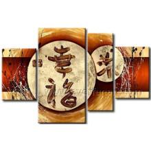 Pintura al óleo hecha a mano enmarcada de la lona para el hogar decorativo