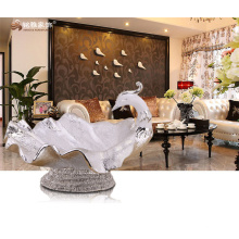 Home decoration accessories resin peacock fruit bowl furit tray for dining room