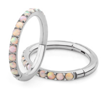 ASTM F136 Titanium Paveset Jewelled Hinged Clicker Nose Ring Ear Rook Daith Conch Piercings Opal Body Jewellery