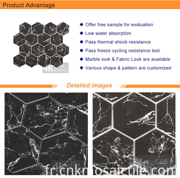 Recycled Large Hexagon Glass Tile in Black Marble (2)