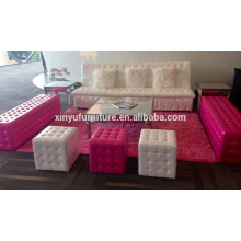 white & pink leather cube ottomans &stools furniture XYN1943