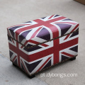 Classic Dressing room UK flag Toggery Leather organizer stool