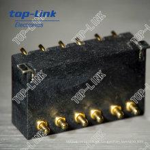 Conector Pogo de ángulo recto con 6 clavijas, cargado con muelle