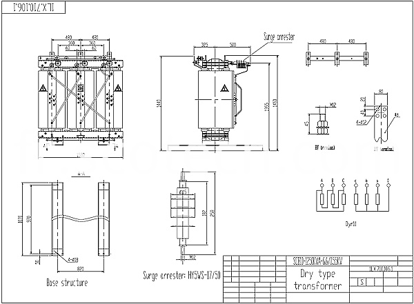 1250kva dry type transformer drawing