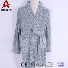 Latest design embossed flannel fleece short bathrobe for adult