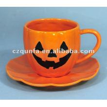 Halloween theme decorative ceramic pumpkin cup and saucer