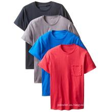 Camiseta redonda del cuello redondo ocasional al por mayor del diseño con el bolsillo del remiendo del pecho