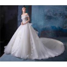 Elegante fora do ombro plissado projeto vestido de noiva vestido de noiva HA584