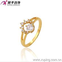 Xuping moda engajamento 24k banhado a ouro anel de pedra preciosa requintado