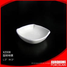 2015 nueva diseño moderno 3 pulgadas línea aérea blanco porcelana plato pequeño