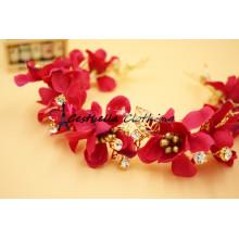 Alta qualidade Handmade Red Sok Flower Beaded Headband / Acessórios para cabelo de casamento