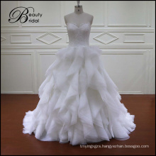 Vintage Wedding Dress Organza Ruffles Skirt Wedding Dress