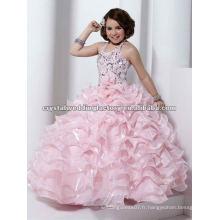 Halter perlée en soie à la robe à la robe à la robe à la robe à la robe Robe aux filles à fleurs CWFaf4536