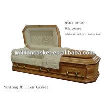 Folheado do carvalho americano estilo caixão personalizado e nobre ofício