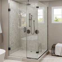 "Seawin Black Prefab Small Designs Stool Top Cover 3/8"" Frameless Tempered Glass Door Shower Room"