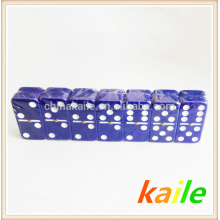 Double six blue domino with wooden box