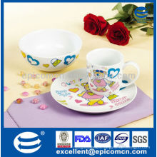 Cartoon decoration 3pcs porcelain kitchen utensils gift set for children