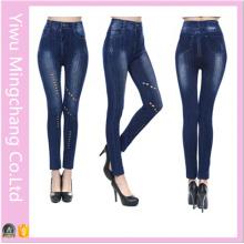 Бесшовные хлопковые джинсы Европы и Америки полые сплошного цвета поножи
