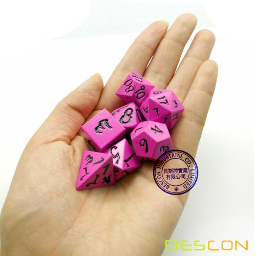 Bescon Fresh New Solid Metal Dice Set Deep Pink,Metal RPG Miniature Polyhedral dice set of 7 for role Playing Games