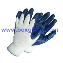 10 Gauge Polyester Liner, Nitrile Coating Safety Gloves