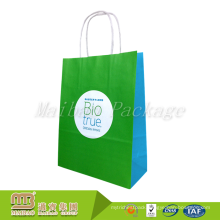 Cheap Custom Shopping Recycle Packing Twisted Handle Kraft Green Paper Bag With Company Logo Printed