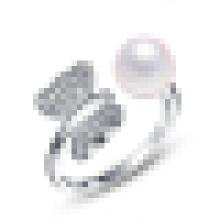 Anillo de apertura de plata de ley de perlas de agua dulce de mujer de moda de la moda
