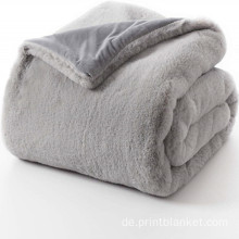 Reversible Rabbit Faux Fur Throw Blanket
