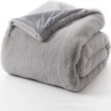manta y manta de ante sintético esponjoso de piel de conejo