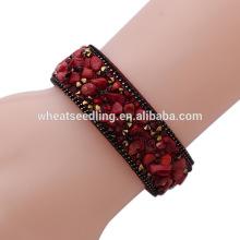 Étincelant cristal botton en cuir enveloppement en pierre naturelle bracelet perle bracelets en pierre chanceux