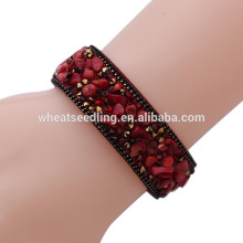 sparkle crystal botton leather wrap natural stone bead bracelet lucky stone bracelets