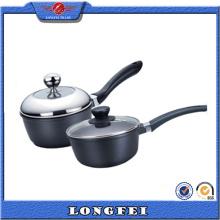 Alta qualidade de cor preta Die Cast Alumínio Milk Pan